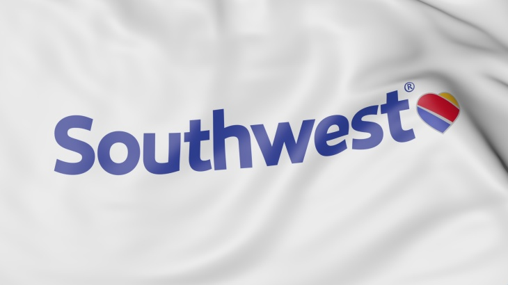 Waving flag of Southwest Airlines editorial 3D rendering