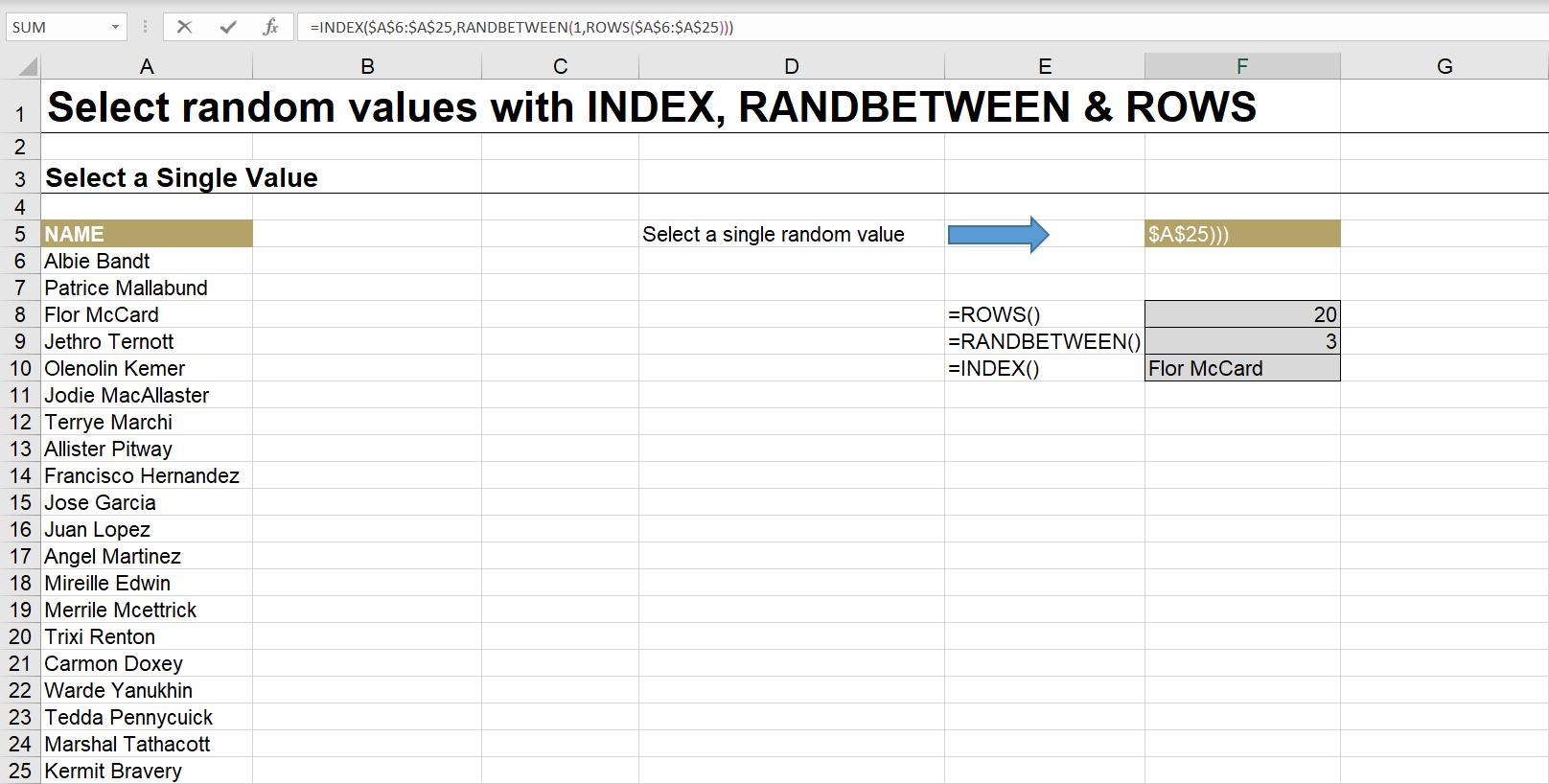Randow Row in Excel Blog Screenshot
